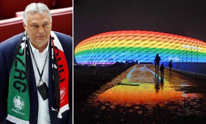 Le Premier ministre hongrois Viktor Orban. À droite, l'Allianz Arena de Munich aux couleurs du drapeau LGBT, une action symbolique finalement interdite par l'UEFA lors du match Allemagne - Hongrie.