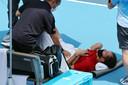 Daniil Medvedev had het zwaar tijdens zijn partij tegen Fabio Fognini.