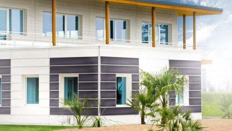 Zonnecellen geïntegreerd in betonnen muurdelen, en nog met een goede stroomopbrengst ook. Beeld Heliatek/Reckli