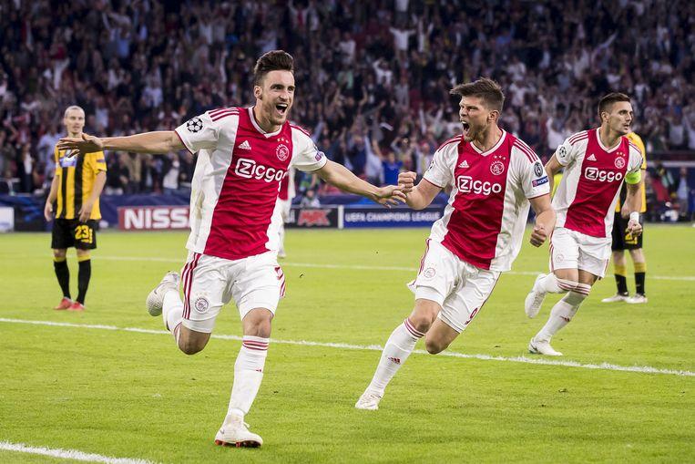 Nico Tagliafico, Klaas Jan Huntelaar en Dusan Tadic. Beeld ANP Pro Shots