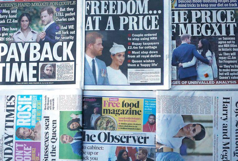 De voorpagina's van de Britse kranten.