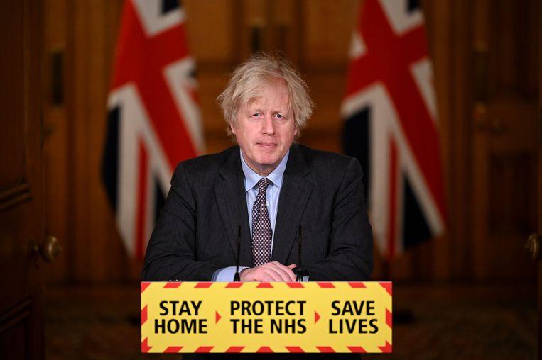 Brits premier Boris Johnson kondigde een opheffing van de lockdown in verschillende fasen aan. Beeld Getty Images