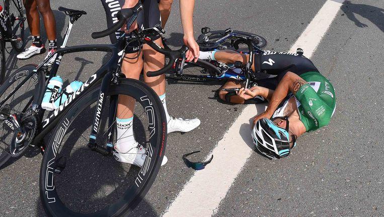 Tom Boonen was in Abu Dhabi het slachtoffer van een serieuze crash, volgens een anonieme renner mogen we op het WK straks hetzelfde verwachten. Beeld TDW