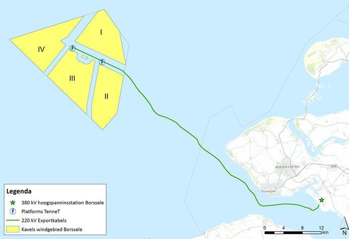 De ligging van de windparken voor de Zeeuwse kust.