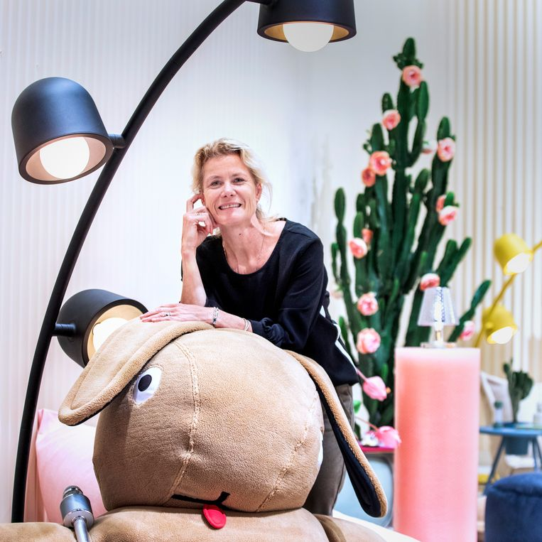 CEO Petra Vos leaning on the Fatboy lounge rabbit.  Image Raymond Rutting / de Volkskrant