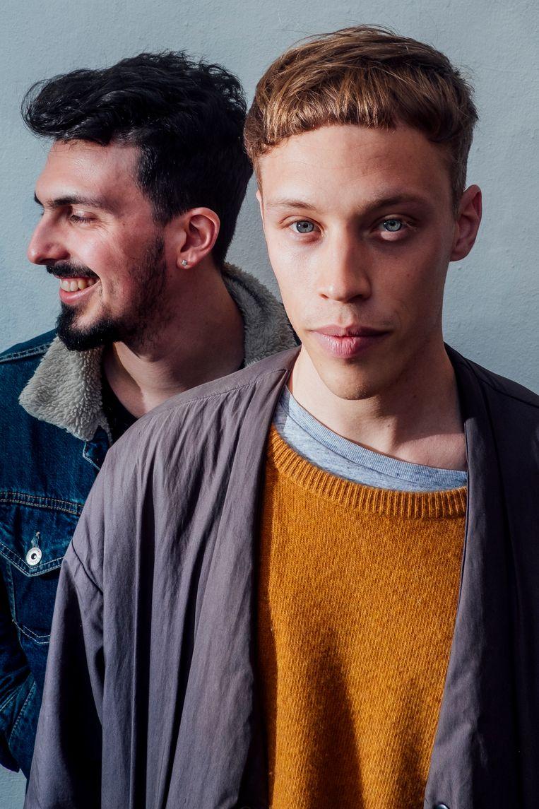 Jazzdrummers Antoine Pierre en Lander Gyselinck. Beeld Stefaan Temmerman