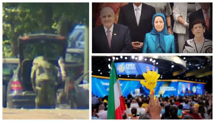 Een ontmijner doorzoekt de auto van het Wilrijks koppel na de arrestatie in Sint-Pieters-Woluwe. Op de bijeenkomst in Villepinte waren 25.000 aanwezigen. Een van de eregasten was Rudy Giuliani, de advocaat van Donald Trump. Hij staat naast Maryam Rajavi, de leidster van de Iraanse verzetsbeweging MEK.