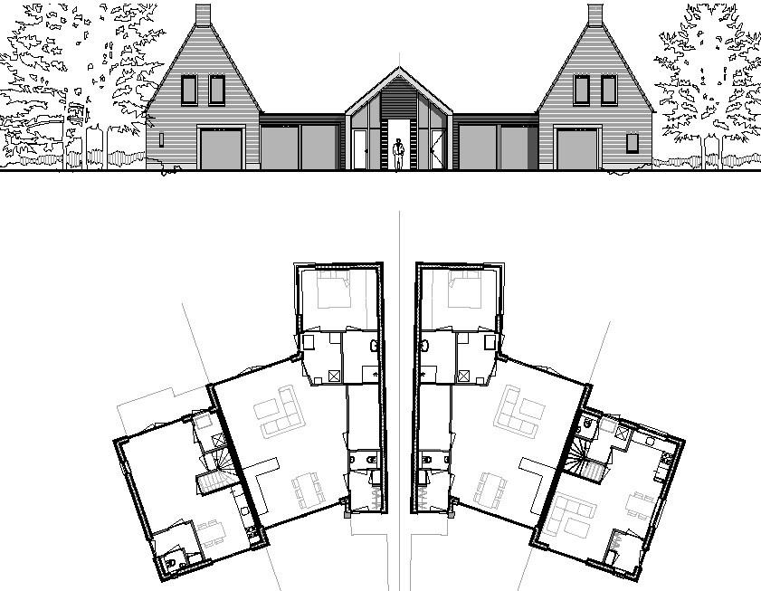 De bouwtekeningen van de vier geschakelde woningen aan de Monnikshof.