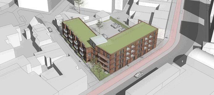 Impressie van het wooncomplex met 29 appartementen dat op de hoek van de Brugstraat en de Marskant wordt gebouwd.