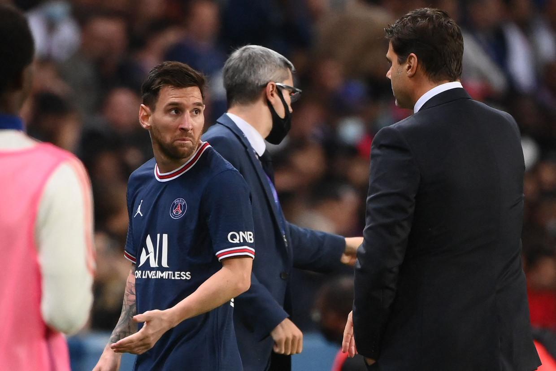 Lionel Messi maakte misbaar bij zijn wissel. Beeld AFP