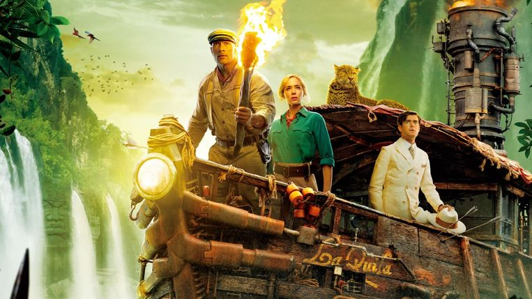 Dwayne Johnson, Emily Blunt en Jack Whitehall in 'Jungle Cruise' Beeld TMDb