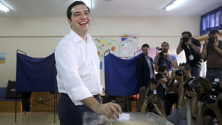 Premier Tsipras stemt in Athene Beeld REUTERS