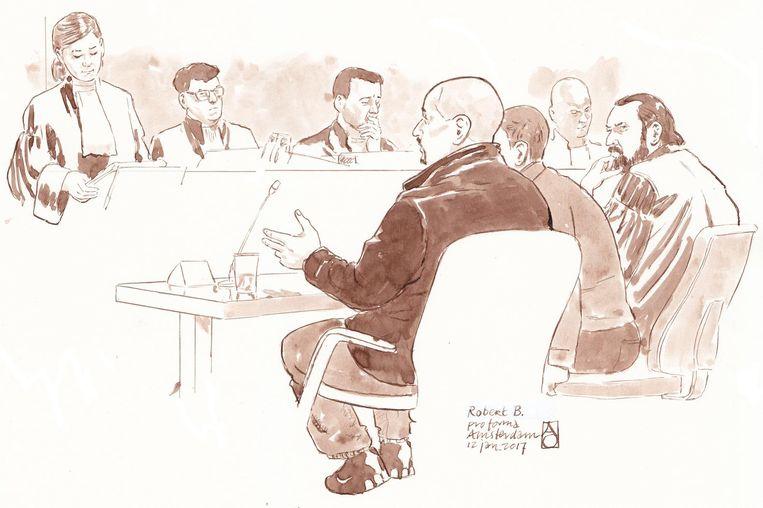 Rechtbanktekening van de verdachten tijdens de de pro formazitting in de zaak. Beeld anp