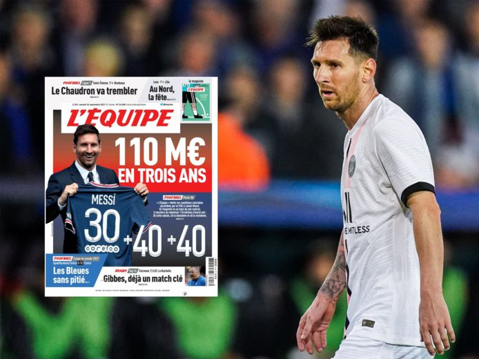 L'Équipe a fait sa Une sur le salaire de Messi.