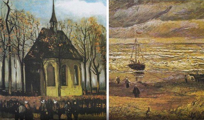 Zeegezicht bij Scheveningen (1882) en Het uitgaan van de Hervormde Kerk te Nuenen (1884/85)