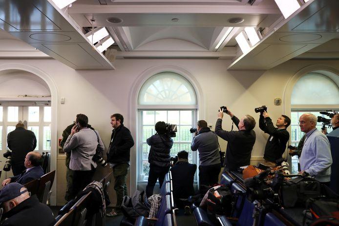 Journalisten in het Witte Huis moesten een tijd lang binnen blijven.