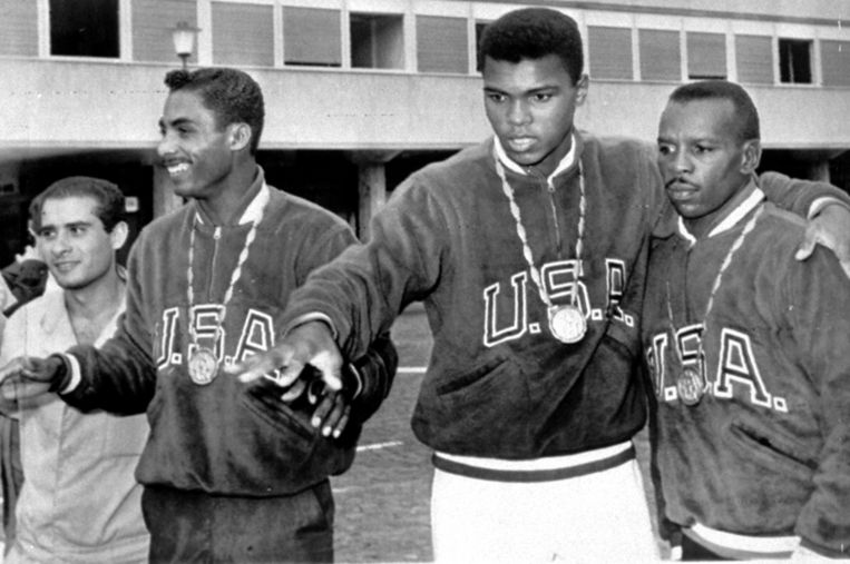 Muhammad Ali, destijds nog Cassius Clay, op de Olympische Spelen van Rome. Beeld ap