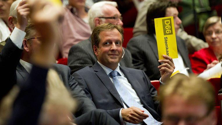 D66-leider Alexander Pechtold tijdens een D66-congres in het Utrechtse Beatrixtheater in 2011 Beeld ANP