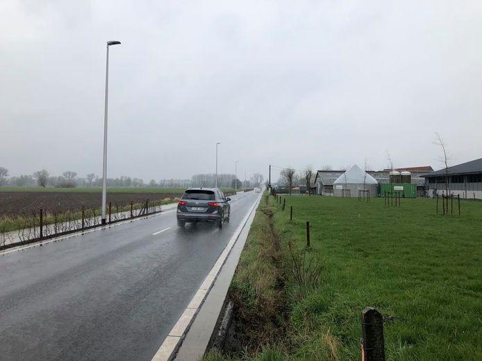 De Rollegem-Kapelsestraat is een lange asfaltweg