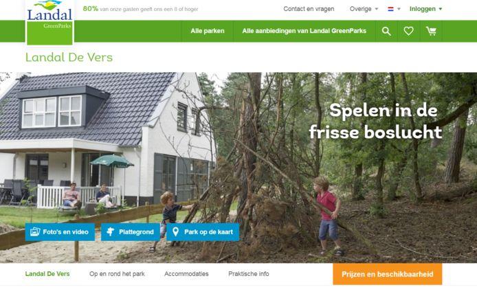 De website van Landal park De Vers.