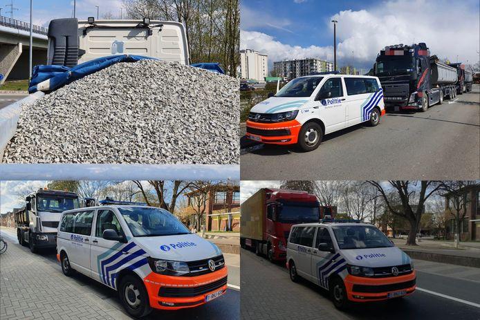 De politie controleerde verschillende vrachtwagens.