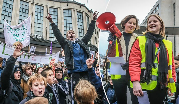 Anuna De Wever en Kyra Gantois (r.) tijdens de eerste klimaatbetoging. Beeld Pieter-Jan Vanstockstraeten