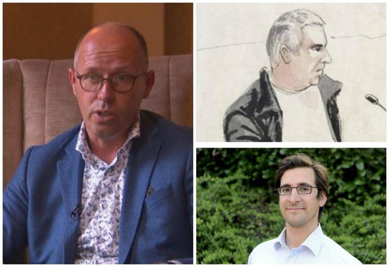 Foto links: politie-informant Anthonie Van Wilderoden. Rechtsboven: rechtbankschets van verdachte Evert De Clerq. Rechtsonder: slachtoffer Stijn Saelens. Beeld VTM Nieuws - Palix - Belga