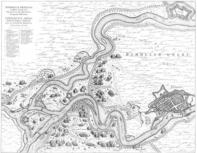 Historische schets van de oude verbinding tussen Maas en Waal. Beeld RV