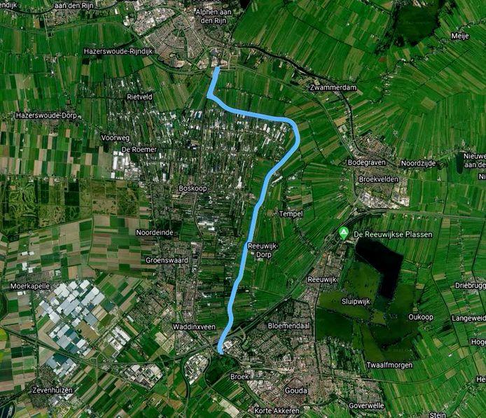 De blauwe lijn geeft de plek aan waar volgens RijnGouweLokaal de Nieuwe Gouwe zou moeten komen.