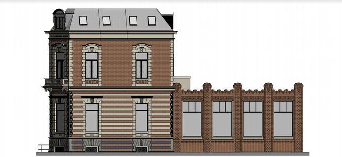 Ontwerp-tekening van de rechtergevel van de voormalige dansschool Wensink in Arnhem, die uitkomt op de Prins Hendrikstraat