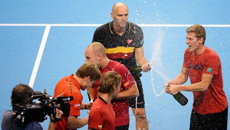 De Davis Cup-ploeg bij het behalen van de finale dit jaar. Beeld PHOTO_NEWS