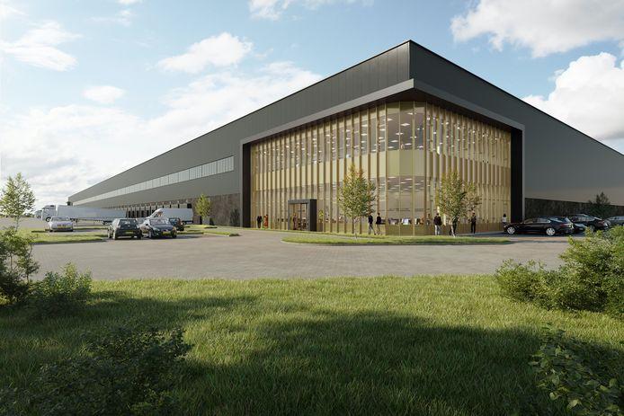 Artist impression van het nieuw te bouwen distributiecentrum voor Nunner Logistics in 's-Heerenberg.