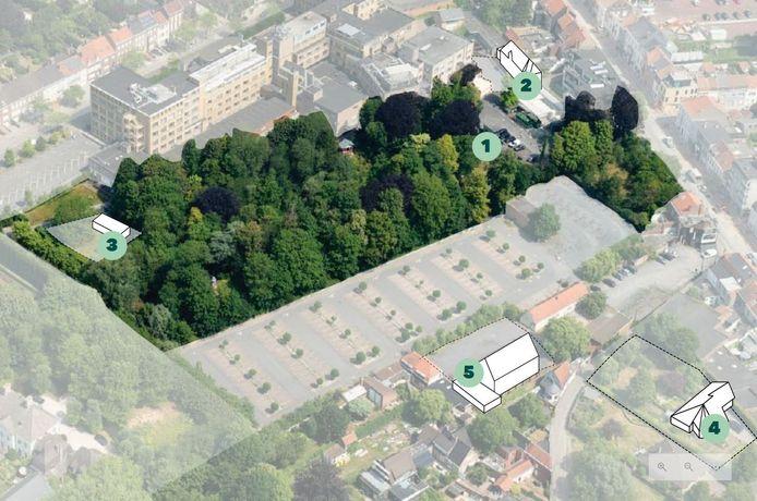 Een plannetje met centraal de Engelse parktuin. 1 staat voor The Koffie Queen's Garden, 2 voor het Koetshuis, 3 voor het Lotus gebouw, 4 voor de Villa en 5 voor de Kapel