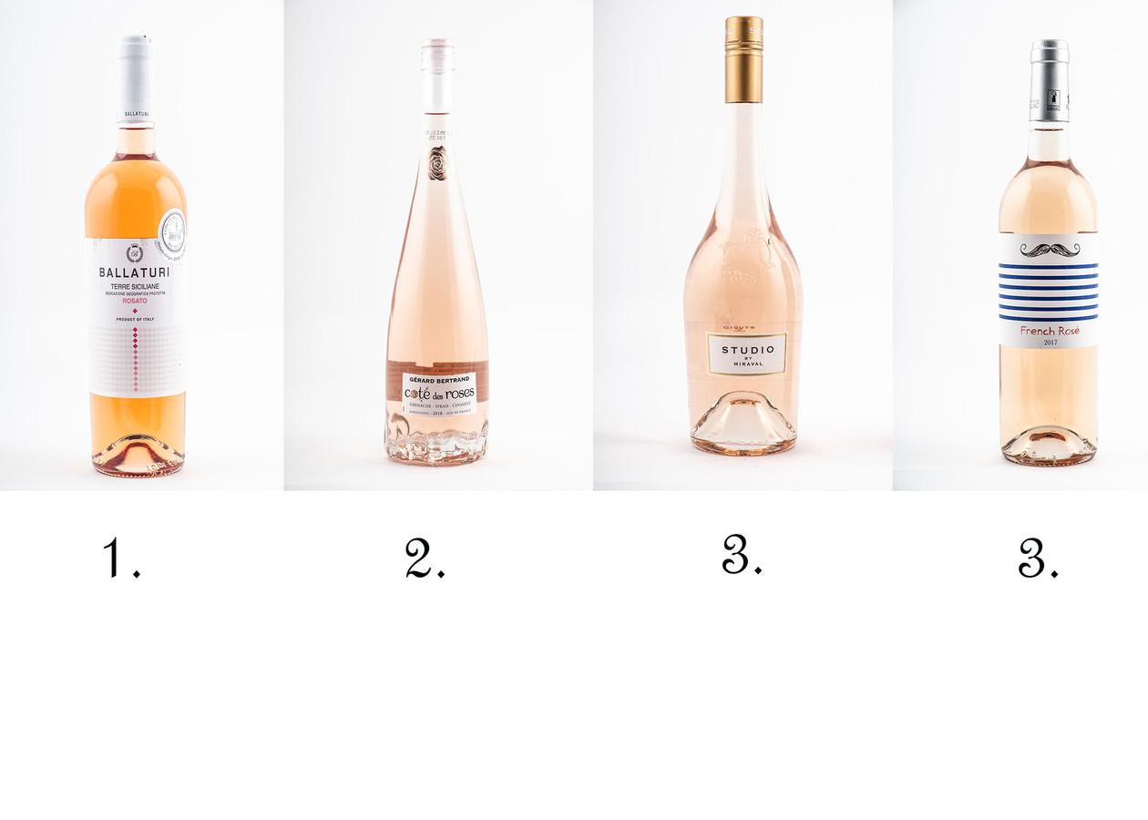 De toppers: 1) Ballaturi, 2) Côte des Roses Gérard Bertrand, en een gedeelde derde plaats voor Studio by Miraval en French Rosé.
