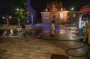 In Sint-Lievens-Houtem liep een deel van de martk aan het gemeentehuis onder water.