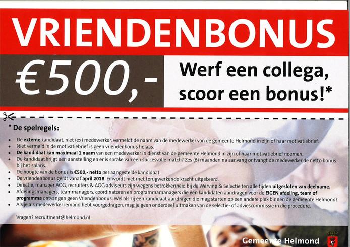 De gemeente Helmond looft een beloning uit voor ambtenaren die nieuwe collega's werven.