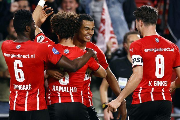 PSV met Ibrahim Sangaré, André Ramalho, Cody Gakpo en Marco van Ginkel.