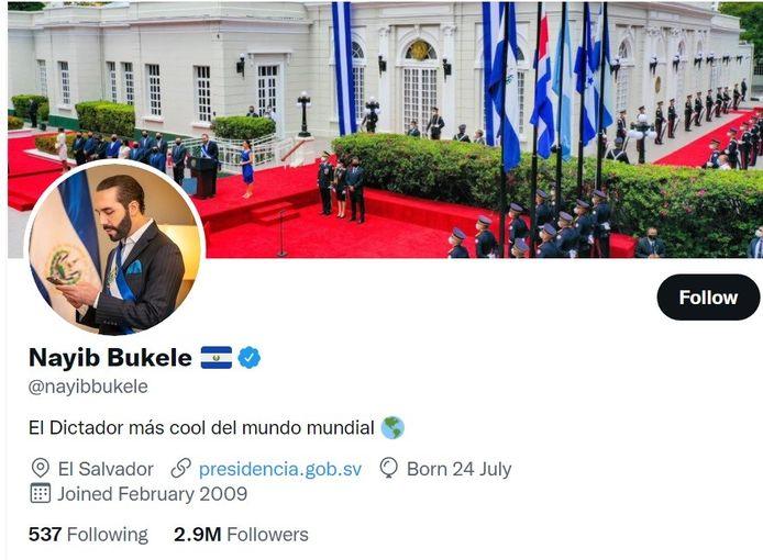 Het Twitterprofiel van de Salvadoraanse president Nayib Bukele.