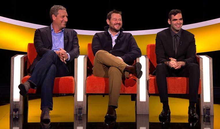 De drie finalisten van vorig jaar op een rij: Gert Verhulst, Bart De Pauw en Adil El Arbi. Beeld SBS Belgium