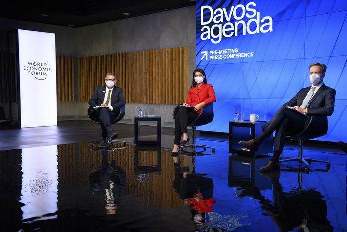 Een persconferentie van het World Economic Forum, dat normaal gesproken deze week in Davos plaats zou vinden.
