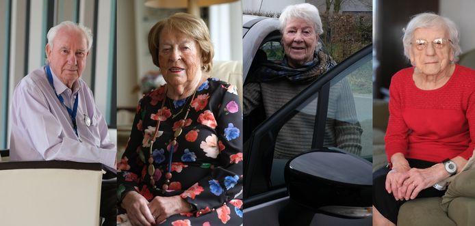 We zien (vlnr) Antoon Sansen (89), Thérèse Pintelon (91), Ivonne Sercu (86) en Simonne Soete (93)