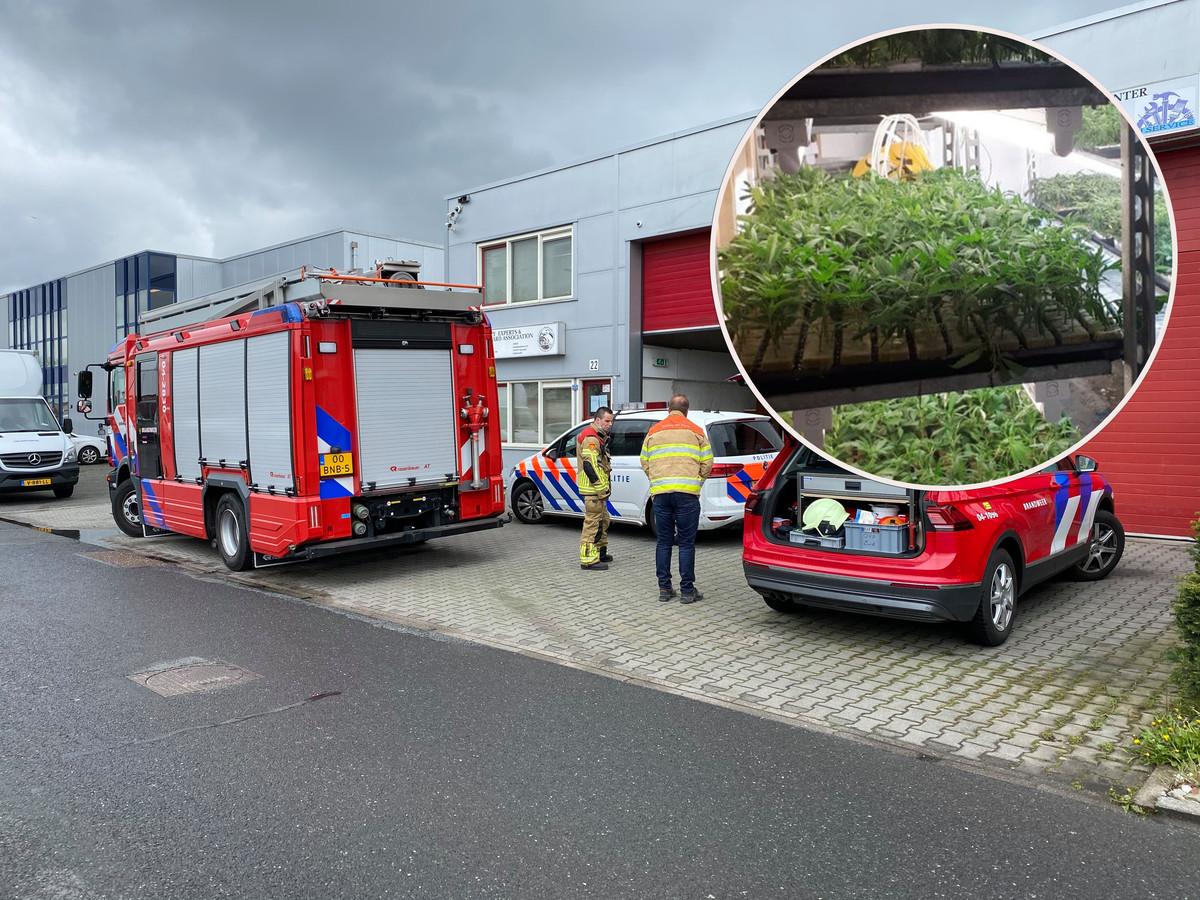 De brandweer en de politie voor het pand met de wietplantage. Inzet: een deel van de vondst.