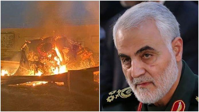 Links een beeld van de ravage na de raketaanval, rechts de omgekomen Iraanse generaal Qassem Soleimani .