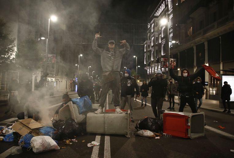 Een protest in Madrid, Spanje.  Beeld EPA