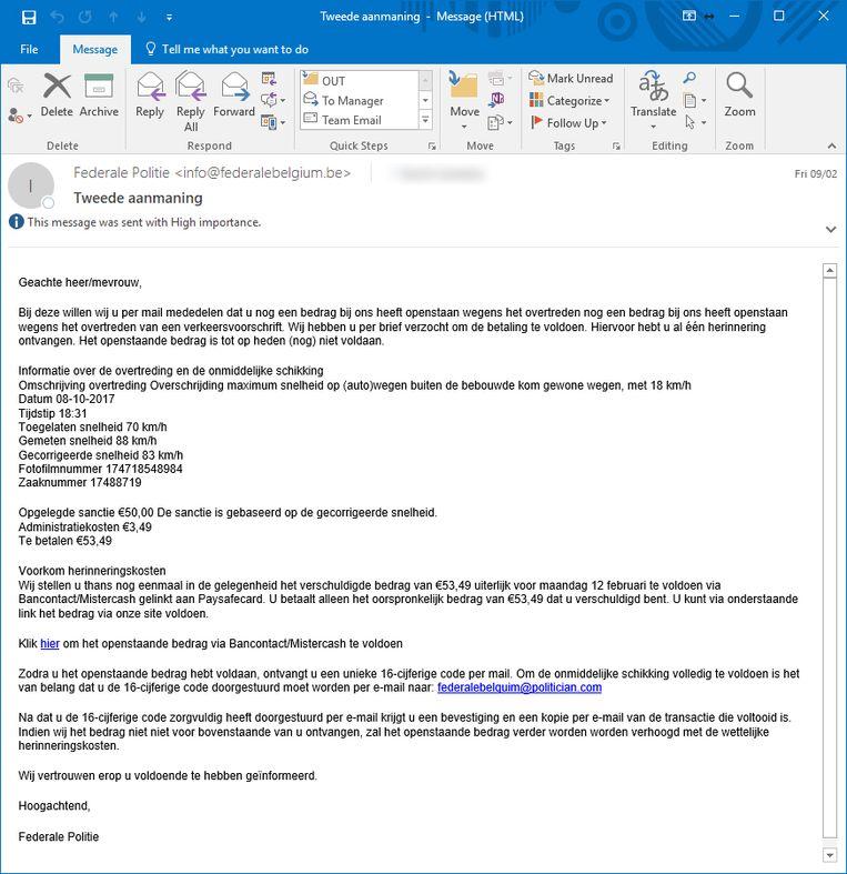 Een voorbeeld van een fake e-mail.