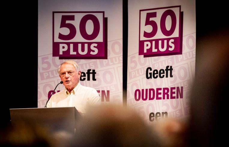 Jan Nagel houdt een toespraak tijdens de Algemene Vergadering van 50Plus in 2018. Beeld Hollandse Hoogte /  ANP