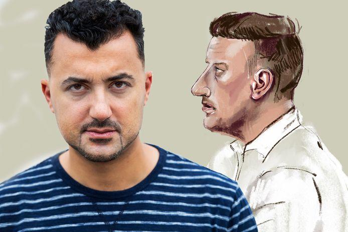 Schrijver Özcan Akyol en rechts de rechtbanktekening van Willem R.