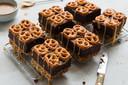 Pretzel brownies met karamel
