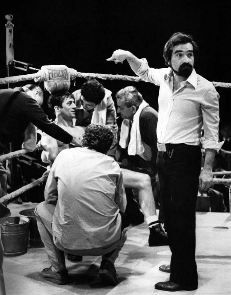 Op de set van 'Raging Bull' (1980) met Robert De Niro als bokser Jake LaMotta.  Beeld Collection Christophel