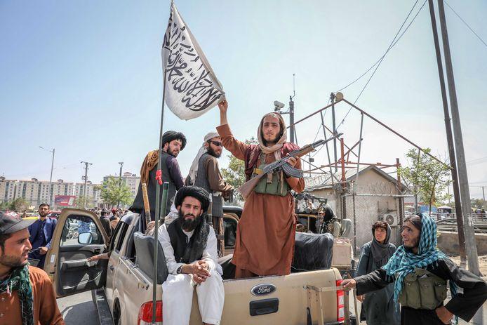 Talibanstrijders in de Afghaanse hoofdstad Kaboel.